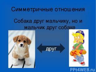 Симметричные отношения Собака друг мальчику, но и мальчик друг собаке друг