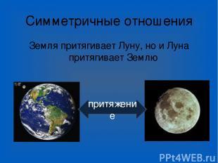 Симметричные отношения Земля притягивает Луну, но и Луна притягивает Землю притя