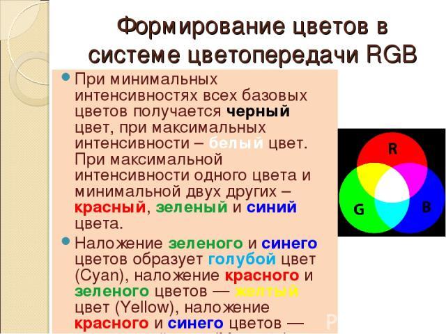 Формирование цветов в системе цветопередачи RGB При минимальных интенсивностях всех базовых цветов получается черный цвет, при максимальных интенсивности – белый цвет. При максимальной интенсивности одного цвета и минимальной двух других – красный, …