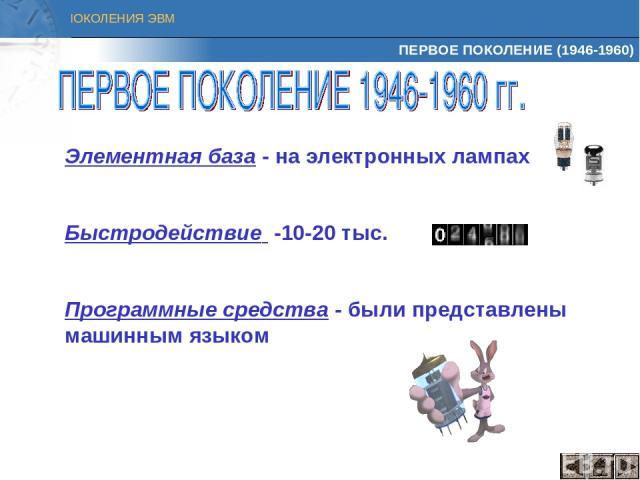 ПЕРВОЕ ПОКОЛЕНИЕ (1946-1960) Элементная база - на электронных лампах Быстродействие -10-20 тыс. Программные средства - были представлены машинным языком ПОКОЛЕНИЯ ЭВМ