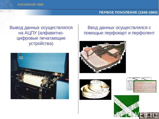 ПЕРВОЕ ПОКОЛЕНИЕ (1946-1960) Вывод данных осуществлялся на АЦПУ (алфавитно-цифровые печатающие устройства) Ввод данных осуществлялся с помощью перфокарт и перфолент ПОКОЛЕНИЯ ЭВМ