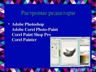 Растровые редакторы Adobe Photoshop Adobe Corel Photo-Paint Corel Paint Shop Pro