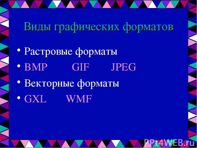 Виды графических форматов Растровые форматы BMP GIF JPEG Векторные форматы GXL WMF