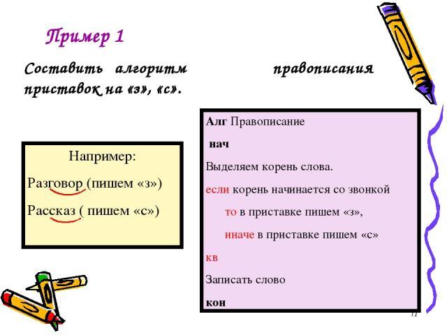 Алг Правописание нач Выделяем корень слова. если корень начинается со звонкой то в приставке пишем «з», иначе в приставке пишем «с» кв Записать слово кон Пример 1 Составить алгоритм правописания приставок на «з», «с». *
