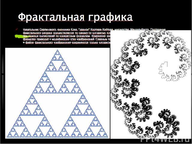 Фрактальная графика треугольник Серпинского, снежинка Коха,