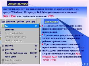 Запуск проекта Запустить проект на выполнение можно из среды Delphi и из среды W