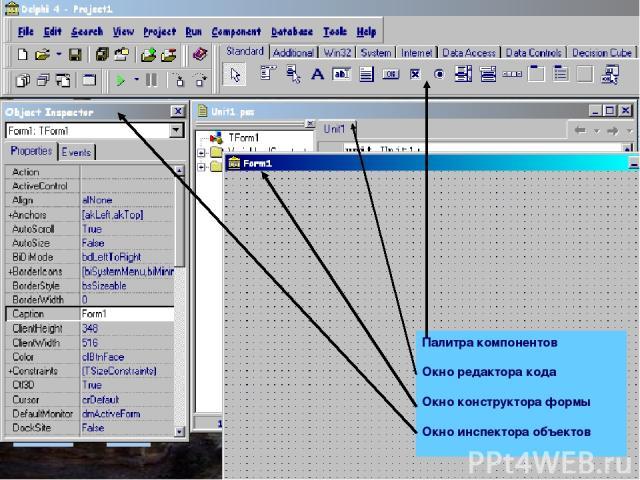 Палитра компонентов Окно редактора кода Окно конструктора формы Окно инспектора объектов