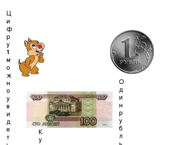 Цифру 1 можно увидеть повсюду. Например, ее можно увидеть на денежных монетах и купюрах: Один рубль Купюра в 100 рублей