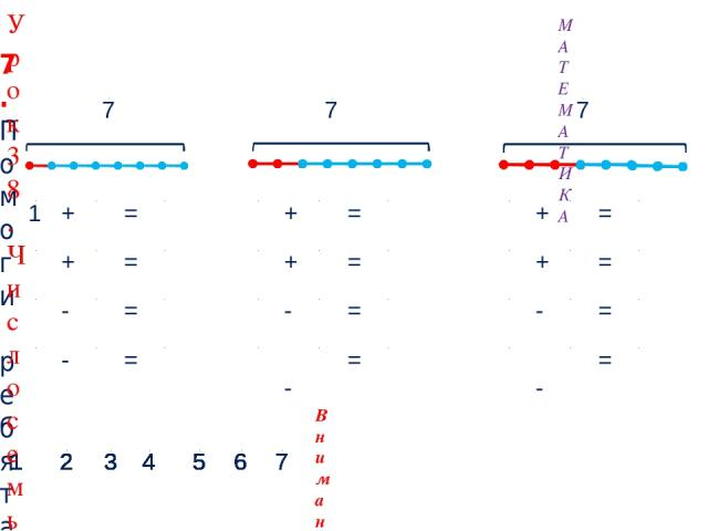 2 + 5 = 7 5 + 2 = 7 1 + 6 = 7 6 + 1 = 7 7 - 2 = 5 7 - 5 = 2 7 - 1 = 6 7 - 6 = 1 7 7 Внимание! Данное задание можно выполнить интерактивно. Для этого презентацию надо перевести в режим редактирования. 5 1 2 3 4 6 5 1 2 3 4 6 5 1 2 3 4 6 5 1 2 3 4 6 5…