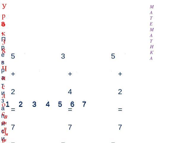 5 + 2 = 7 7 – 1 = 6 3 + 4 = 7 7 – 5 = 2 5 + 2 = 7 7 – 4 = 3 8. Преврати записи Кати в верные равенства. Внимание! Данное задание можно выполнить интерактивно. Для этого презентацию надо перевести в режим редактирования. 1 2 3 4 5 6 7 7 1 2 3 4 5 6 7…