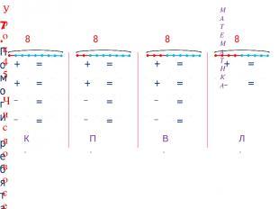 + 7 = 8 7 + 1 = 8 8 1 = 7 8 7 = 1 + 6 = 8 6 + 2 = 8 8 2 = 6 8 6 = 2 + 5 = 8 5 +