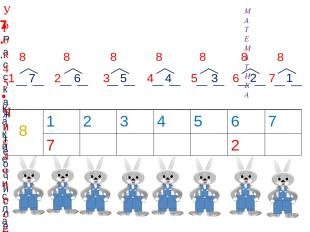 7.. Расскажите о числе восемь: 7 6 5 4 3 2 1 8 Какие числа можно записать в «око