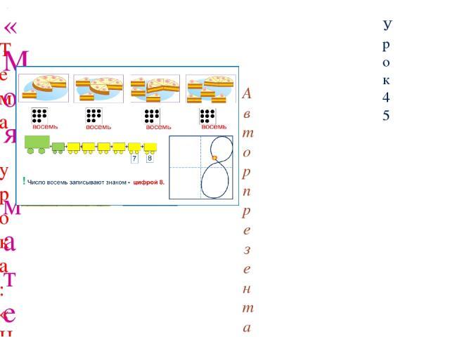 «Моя математика» 1 класс Урок 45 Тема урока: «Число восемь. Цифра 8» Советы учителю. Презентация к уроку составлена на основе заданий, расположенных в учебнике. Рекомендую открыть учебник на странице с данным уроком, прочитать задания и просмотреть …