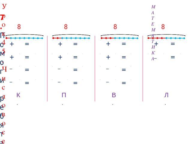 + 7 = 8 7 + 1 = 8 8 1 = 7 8 7 = 1 + 6 = 8 6 + 2 = 8 8 2 = 6 8 6 = 2 + 5 = 8 5 + 3 = 8 8 3 = 5 8 5 = 3 + 4 = 8 8 4 = 4 7. Помоги ребятам составить равенства к своим рисункам. 2 3 4 1 – – – – – – – К. П. В. Л. 8 8 8 8 МАТЕМАТИКА Урок 45. Число восемь.…