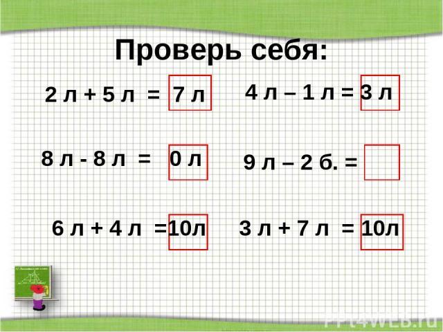 Проверь себя: 2 л + 5 л = 7 л 8 л - 8 л = 0 л 6 л + 4 л =10л 4 л – 1 л = 3 л 9 л – 2 б. = 3 л + 7 л = 10л http://aida.ucoz.ru