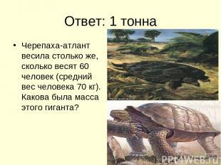 Ответ: 1 тонна Черепаха-атлант весила столько же, сколько весят 60 человек (сред