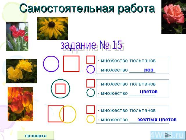 Самостоятельная работа проверка - множество тюльпанов - множество _________ - множество тюльпанов - множество _________ - множество тюльпанов - множество _________ цветов желтых цветов роз