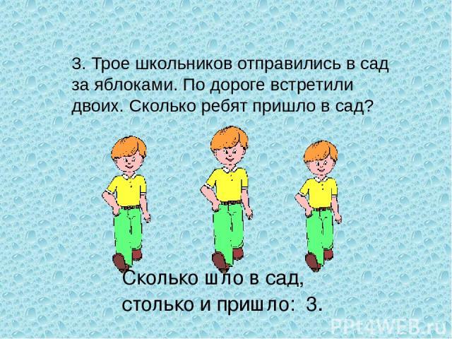 3. Трое школьников отправились в сад за яблоками. По дороге встретили двоих. Сколько ребят пришло в сад? Сколько шло в сад, столько и пришло: 3.