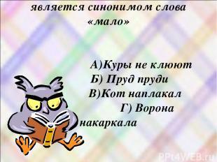 8)Какое из этих выражений является синонимом слова «мало» А)Куры не клюют Б) Пру