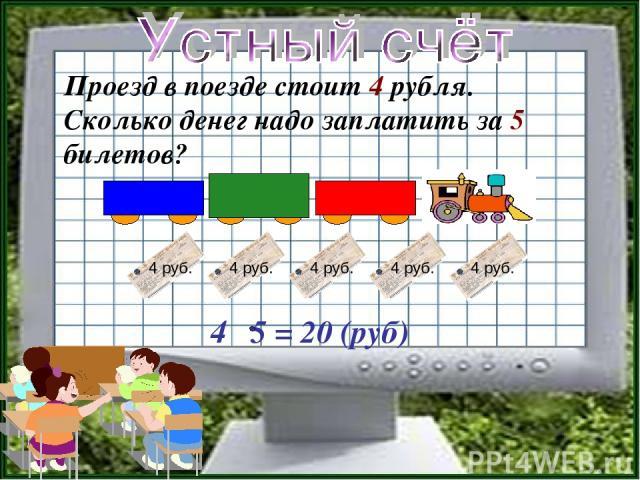 Проезд в поезде стоит 4 рубля. Сколько денег надо заплатить за 5 билетов? 4 5 = 20 (руб)