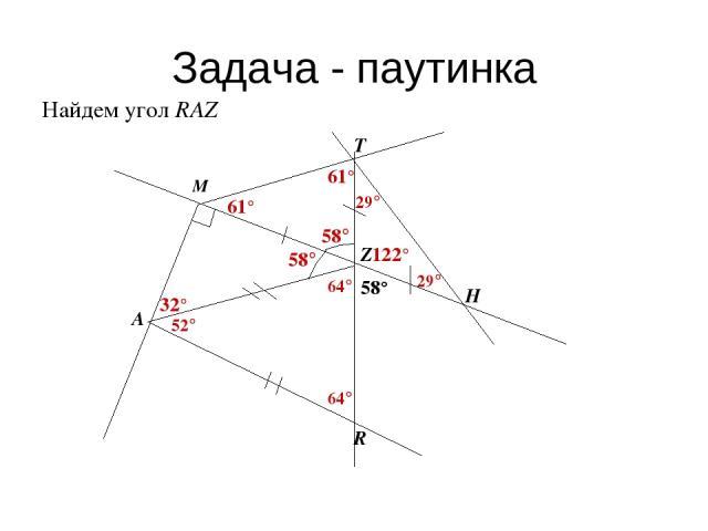 Задача - паутинка Найдем угол RAZ 52°