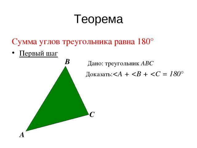 Теорема Сумма углов треугольника равна 180° Первый шаг Дано: треугольник АВС Доказать: