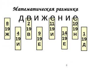 Математическая разминка 8 19 Ж 4 19 И 2 19 В 9 19 Е 11 19 И 14 19 Е 10 19 Н 1 19