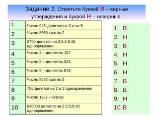 Задание 2. Отметьте буквой В – верные утверждения и буквой Н – неверные. В Н В Н