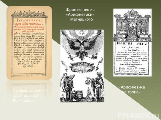 Заглавный лист из «Арифметики» Магницкого. Фронтиспис из «Арифметики» Магницкого «Арифметика на троне»