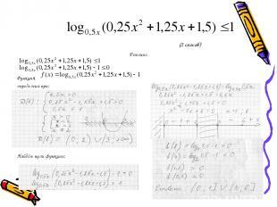 (2 способ) Решение. Функция определена при: Найдём нули функции:
