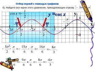 x б). Найдите все корни этого уравнения, принадлежащие отрезку Отбор корней с по
