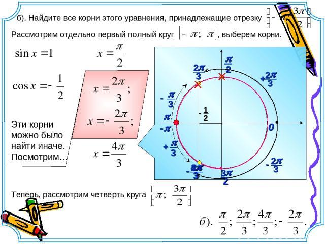 p 0 б). Найдите все корни этого уравнения, принадлежащие отрезку Рассмотрим отдельно первый полный круг , выберем корни. -p
