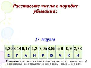 Расставьте числа в порядке убывания: 17 марта Грачевник- в этот день прилетают г