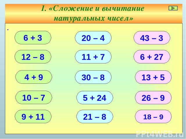 1. «Сложение и вычитание натуральных чисел» ∙