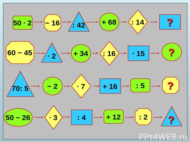 50 ∙ 2 − 16 : 42 + 68 : 14 ? 60 − 45 ? : 2 ? 70: 5 ∙ 2 + 34 − 2 50 − 26 ∙ 7 : 16 ∙ 3 + 16 : 4 ∙ 15 + 12 : 5 ?