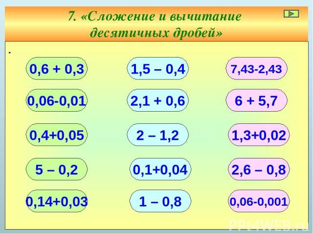 7. «Сложение и вычитание десятичных дробей» ∙