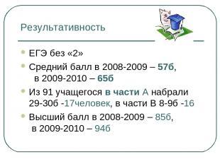 Результативность ЕГЭ без «2» Средний балл в 2008-2009 – 57б, в 2009-2010 – 65б И