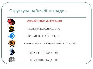 Структура рабочей тетради: СПРАВОЧНЫЕ МАТЕРИАЛЫ ПРАКТИЧЕСКАЯ РАБОТА ЗАДАНИЯ ПО Т