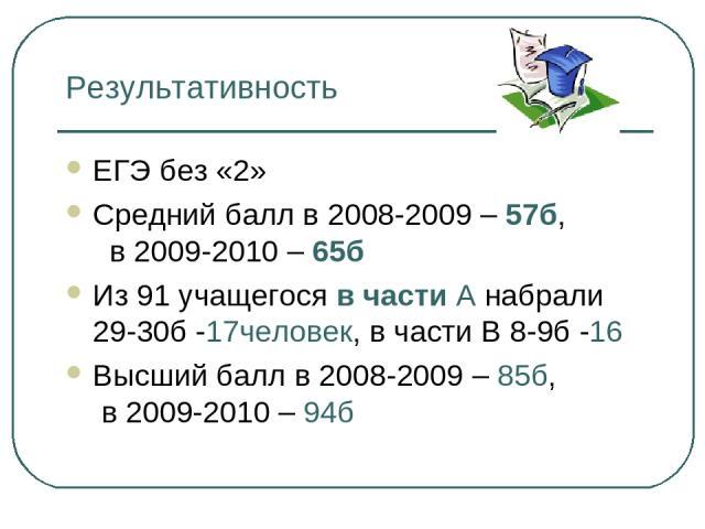 Результативность ЕГЭ без «2» Средний балл в 2008-2009 – 57б, в 2009-2010 – 65б Из 91 учащегося в части А набрали 29-30б -17человек, в части В 8-9б -16 Высший балл в 2008-2009 – 85б, в 2009-2010 – 94б