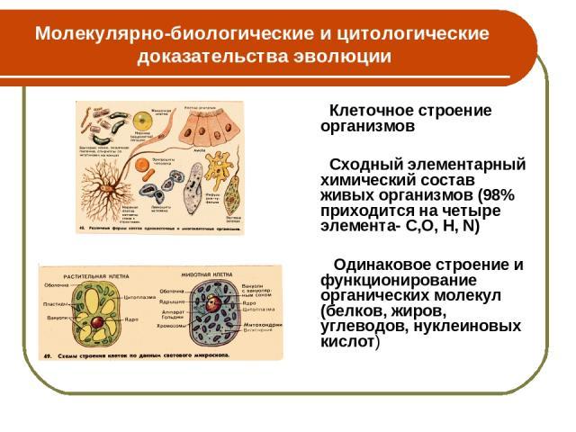 Молекулярно-биологические и цитологические доказательства эволюции Клеточное строение организмов Сходный элементарный химический состав живых организмов (98% приходится на четыре элемента- С,О, H, N) Одинаковое строение и функционирование органическ…