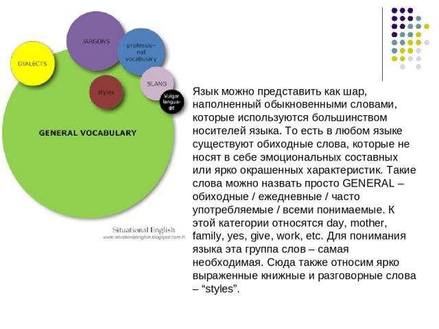 Язык можно представить как шар, наполненный обыкновенными словами, которые используются большинством носителей языка. То есть в любом языке существуют обиходные слова, которые не носят в себе эмоциональных составных или ярко окрашенных характеристик…