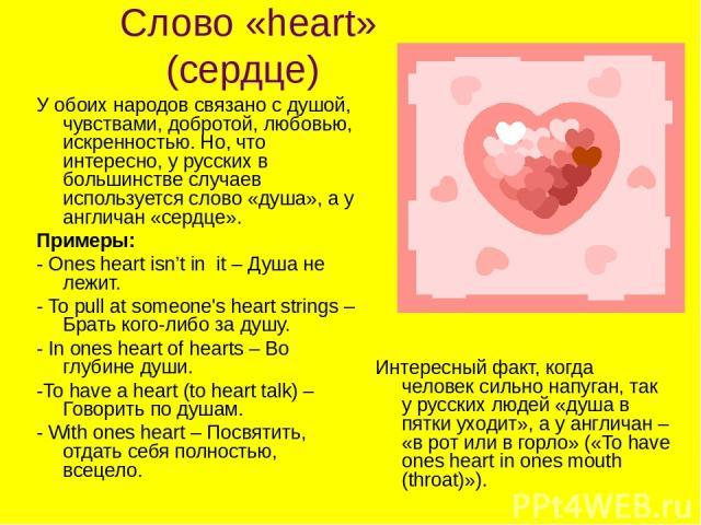 Слово «heart» (сердце) У обоих народов связано с душой, чувствами, добротой, любовью, искренностью. Но, что интересно, у русских в большинстве случаев используется слово «душа», а у англичан «сердце». Примеры: - Ones heart isn't in it – Душа не лежи…
