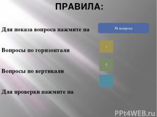 ПРАВИЛА: Для показа вопроса нажмите на Вопросы по горизонтали Вопросы по вертика
