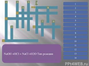 Реакции, протекающие с выделением теплоты 1 12 14 3 5 4 2 10 13 7 9 8 11 1 Прост