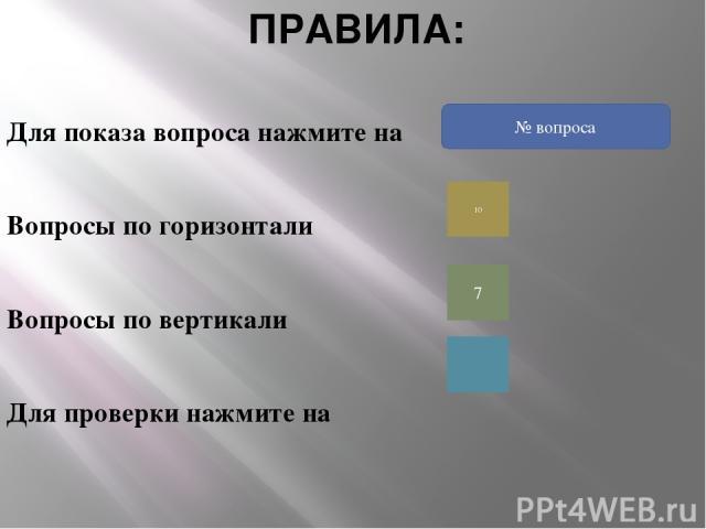 ПРАВИЛА: Для показа вопроса нажмите на Вопросы по горизонтали Вопросы по вертикали Для проверки нажмите на 10 7 ? № вопроса