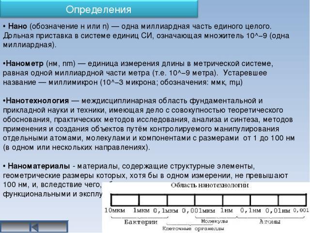 Нано (обозначение н или n) — одна миллиардная часть единого целого. Дольная приставка в системе единиц СИ, означающая множитель 10^−9 (одна миллиардная). Нанометр (нм, nm) — единица измерения длины в метрической системе, равная одной миллиардной час…