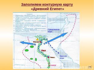 Заполняем контурную карту «Древний Египет» 1-Й ПОРОГ Красное море Средиземное мо