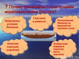 ? Почему финикийцы стали лучшими мореплавателями Востока? Наличие хороших корабл