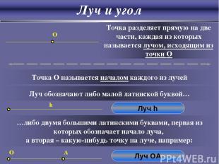 Луч и угол O Точка разделяет прямую на две части, каждая из которых называется л