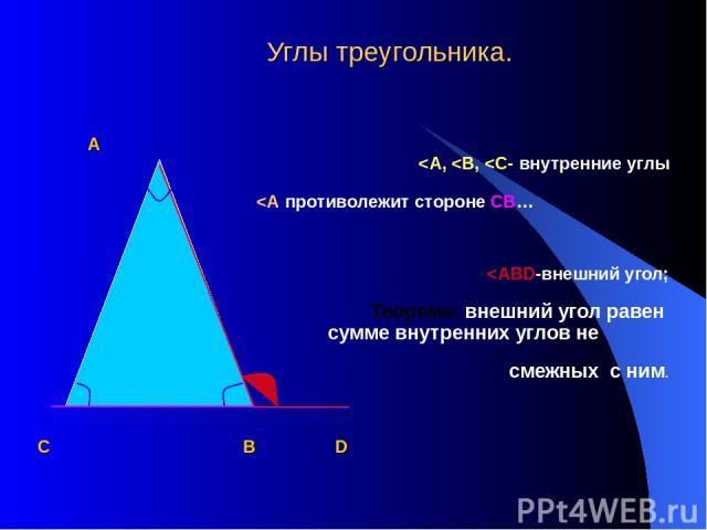 Углы треугольника. А